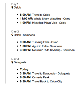 Cebu South Weekend Trip Summary
